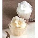 candela mini pasticcino fiore crema -bianco