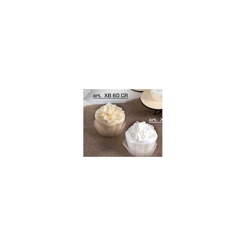 candela media pasticcino fiore crema -bianco