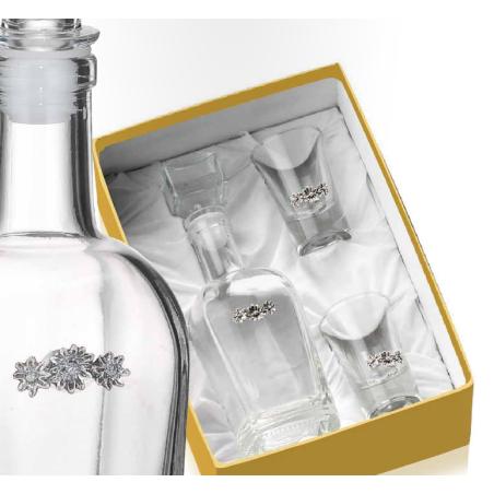 set 3 pezzi bottiglia + 2 bicchieri VALENTI