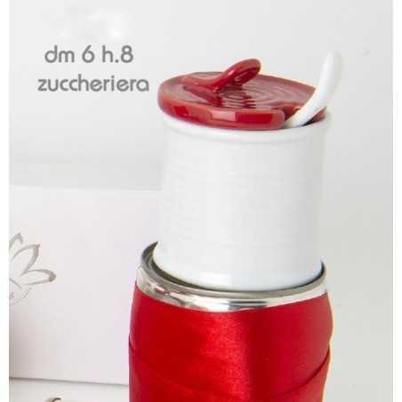 Zuccheriera ceramica rossa e bianca