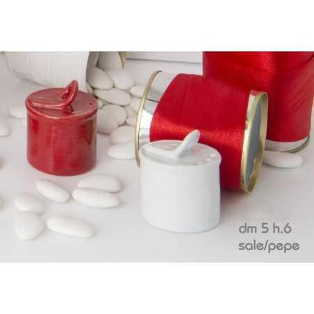 Set sale e pepe ceramica bianca e rossa