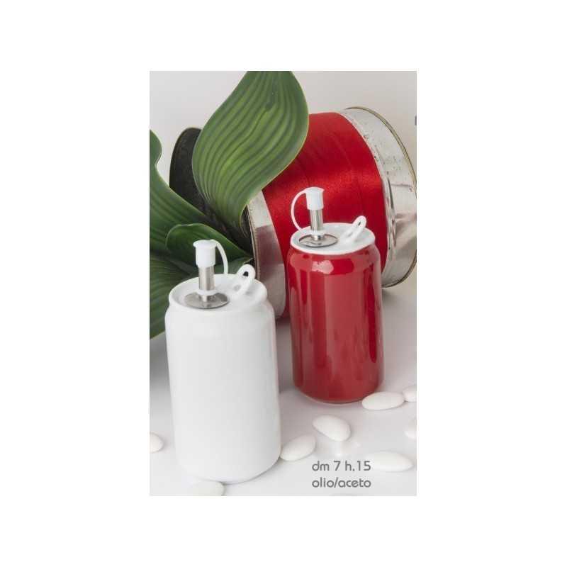 Set olio e aceto ceramica bianca e rossa