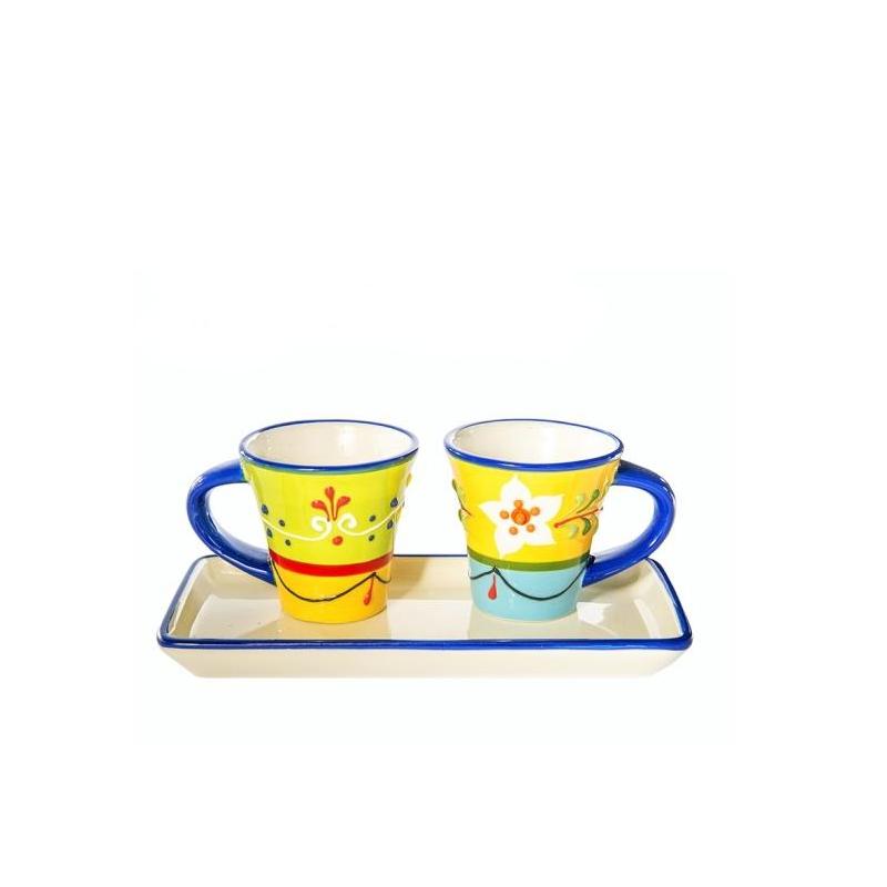 Bomboniera set due tazzine e vassoio colori vivaci