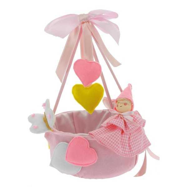 Cestino portaconfetti rosa- cielo in feltro