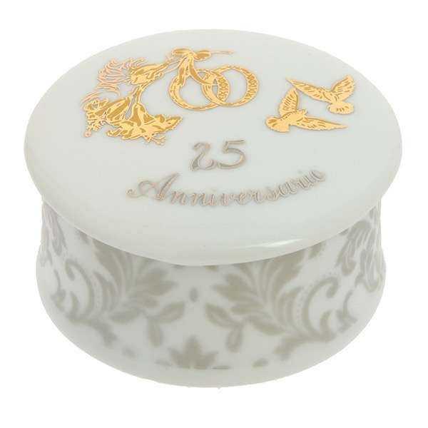 Bomboniera Nozze D' Oro/ Argento Scatola Tonda-Quadrata Porcellana Limoges