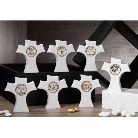 Bomboniera Sacra Croce con applicazione in legno Croce bianca con applicazione legno