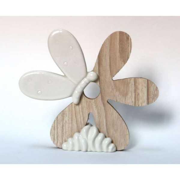 Bomboniera Matrimonio Fiore In legno e porcellana