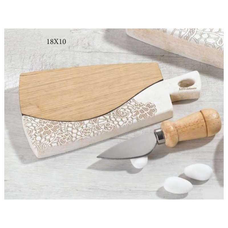 Bomboniera Matrimonio Tagliere in legno e ceramica